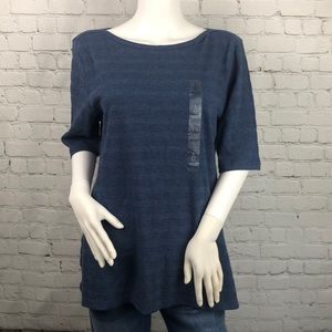 Charter Club Blue Boatneck Elbow Sleeve Top Size L